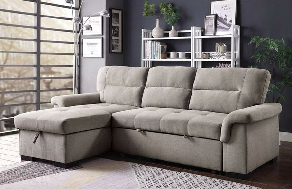 GRAY L Shaped Design Sleeper Sofa Chaise Storage SECTIONAL ...