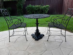 Zodiac Cast Iron Bistro Patio Table with 2 Chairs for Sale in Dallas, TX