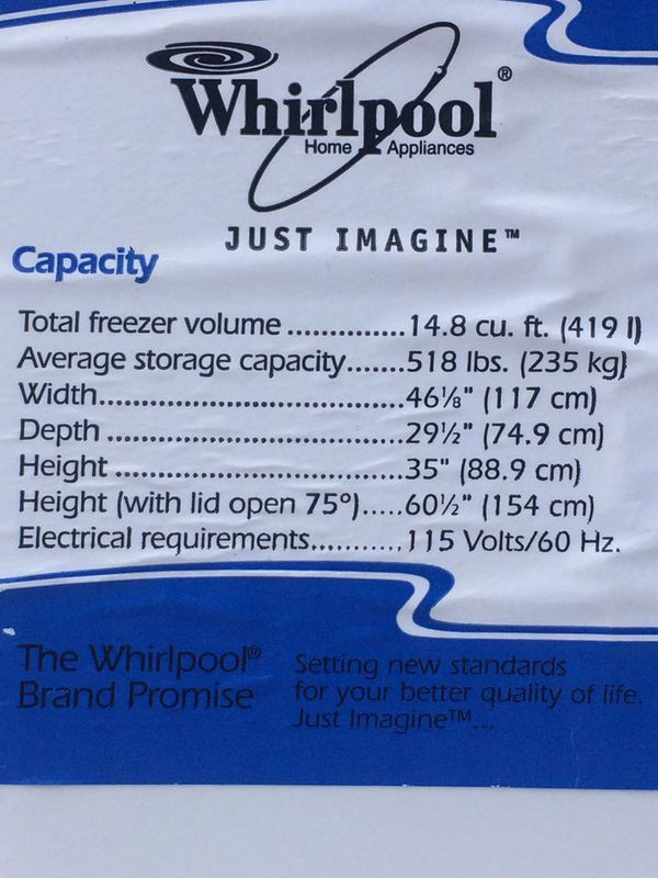 Whirlpool 14.8 cu.ft. Chest Freezer