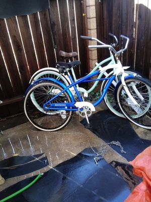 Blue bikes original swing green bikes Huffy the other bike with the motor I want $150 obo for Sale in Ontario, CA