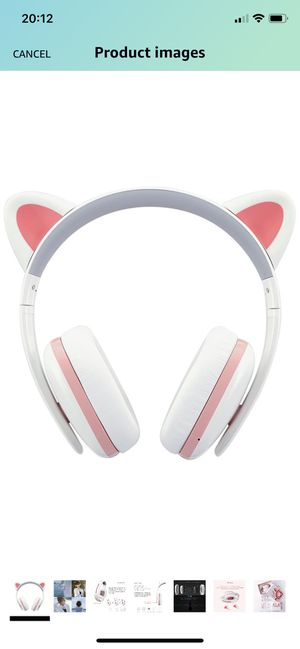 Censi Cat Headphones Wireless Over Ear Bluetooth Headsets with Mic for Girlfriend, Wife, Women, Kids, for Her (White+Pink, Bluetooth) for Sale in Boston, MA