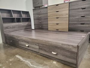 TWIN SIZE Storage Bed Frame with Bookcase Headboard for Sale in Fountain Valley, CA