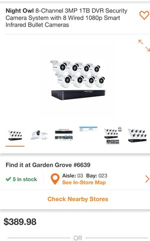 Night Owl8- channel 3MP 1 TB DVR Security Camera System With 8 Wired 1080p Smart infrared Bullet Camera for Sale in Westminster, CA