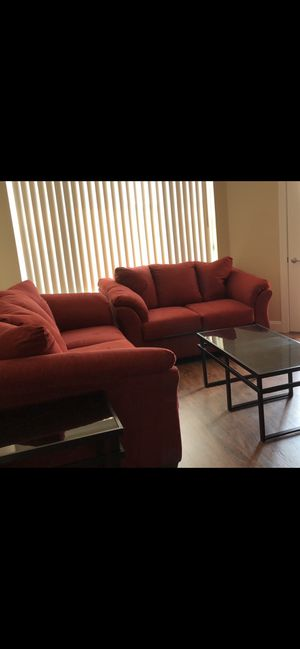 Clean Ashley Darcey sofa & love couch with 3 coffee tables for Sale in Morgantown, WV