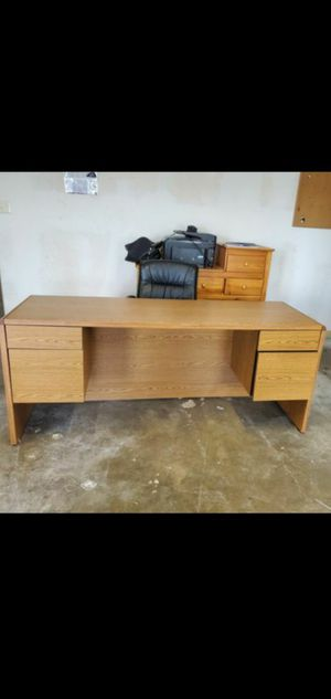 Full size desk and leather rolling adjustable height chair,both VERY GOOD CONDITION for Sale in Round Rock, TX