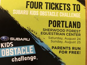 4 tickets to the Kids Obstacle Challenge for Sale in Vancouver, WA