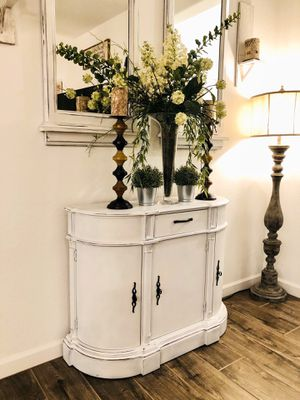 White Shabby Buffet, Entry Table! Farmhouse Rustic Finish! for Sale in Queen Creek, AZ