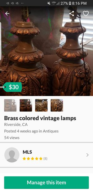 Brass colored lamps for Sale in Riverside, CA