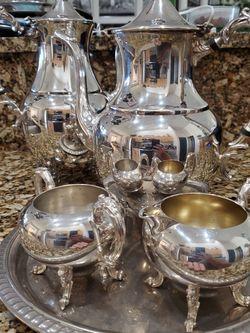 Silver Over Copper Tea Set Sheridan All 4 Pieces For $45 for Sale in Estero,  FL