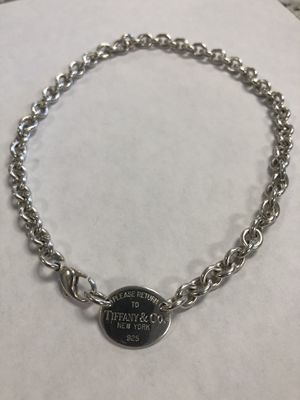 "*Tiffany & Co 925 Sterling Silver Oval Tag Necklace 15"" #I-3717 for Sale in Revere, MA"