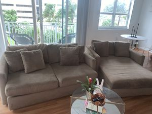 Taupe Sofa and Chaise for Sale in Miami, FL