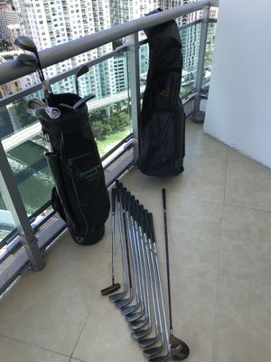 Full set handmade clubs 2-PW and Taylor Made driver, with many extras, including leather travel bag, new balls and instructional videos for Sale in Miami, FL