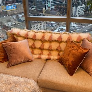 4ft x 5 Ft Anthropology Gold And Pink Fur Throw Blanket for Sale in Chicago, IL