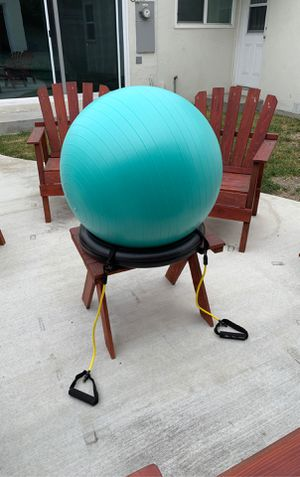 65cm Exercise Ball Chair with Resistance Band and Stability Ring for Sale in Los Angeles, CA