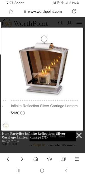 PARTYLITE INFINITE REFLECTIONS SILVER CARRIAGE LANTERN for Sale in Falls Church, VA