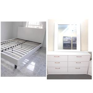 New queen bed frame and mirror dresser mattress is not included with Gold Handles mattress is not included for Sale in Boynton Beach, FL