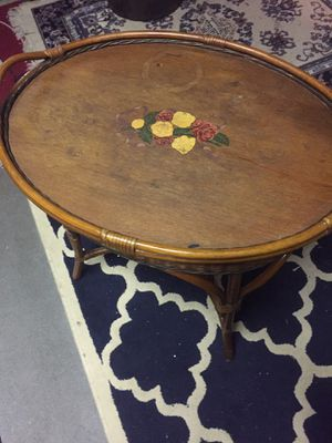 Antique wooden and wicker tray table for Sale in North Andover, MA