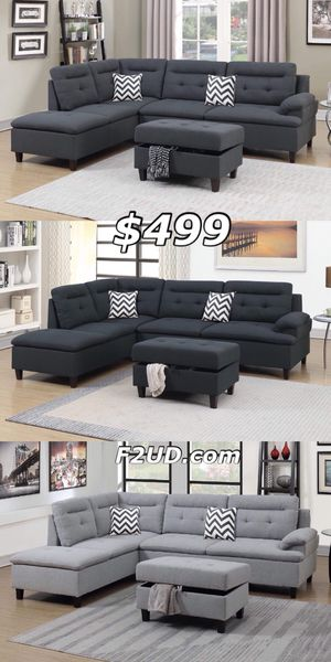 3 Colors Available - Charcoal, Black, Grey Fabric Sofa Sectional Couch & Ottoman for Sale in Orange, CA
