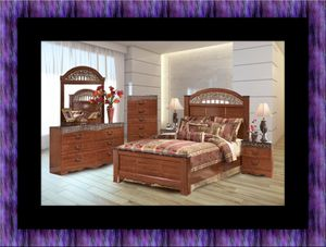 11pc Ashley cherry bedroom set with mattress for Sale in Takoma Park, MD