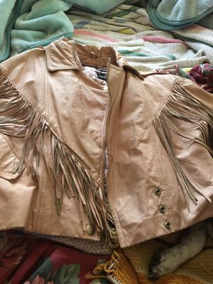 Pink leather fringe jacket needs clean been in storage for Sale in Martinsville, IN