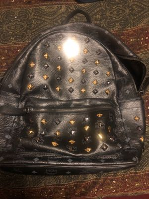 Full Leather MCM book bag all black with black and gold studs for Sale in Atlanta, GA