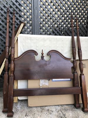 Dark cherry 4 poster post queen size bed frame. And free box spring for Sale in Hoover, AL