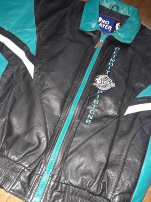 Authentic NBA Pro Player Leather Pistons Jacket for Sale in Detroit, MI