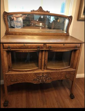 This is an antique sideboard or buffet. It is a beautiful tiger oak. It has a large drawer on the bottom and two small drawers in the top. There is for Sale in Long Beach, CA