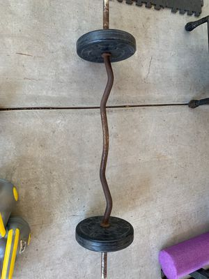 Curling bar with weights for Sale in Ceres, CA