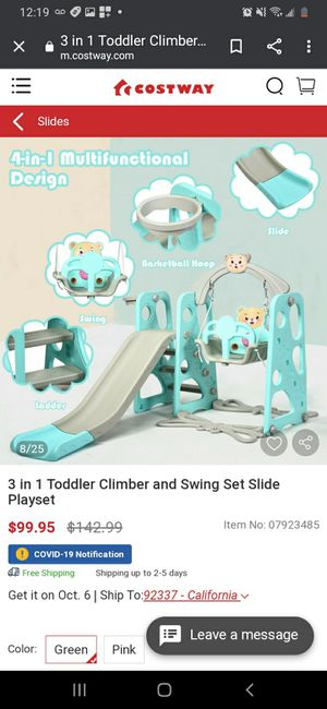 New Toddler Swing Set Slide Playset for Sale in Gardena, CA