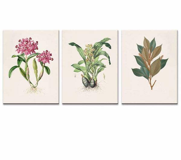 "Canvas Wall Art Green Plants Flowers Simple Life Painting 12""x16""x3 Pieces Framed Canvas Pictures Prints Contemporary Watercolor Artwork Ready to Han"