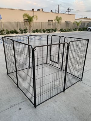 New 48 inch tall x 32 inches wide each panel x 8 panels heavy duty exercise playpen with sun shade tarp cover fence safety gate dog cage crate kennel for Sale in Whittier, CA