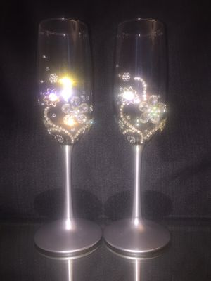 Crystal Rhinestone Wedding Champagne Glasses for Sale in St. Louis, MO