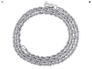 10kt 2mm 20 in hollow Diamond cut white gold rope chain new tag attached for Sale in Pasco, WA