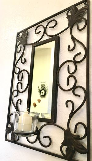 Vintage wrought iron wall accent mirror and candle holder H17xW12xD4 inch for Sale in Chandler, AZ