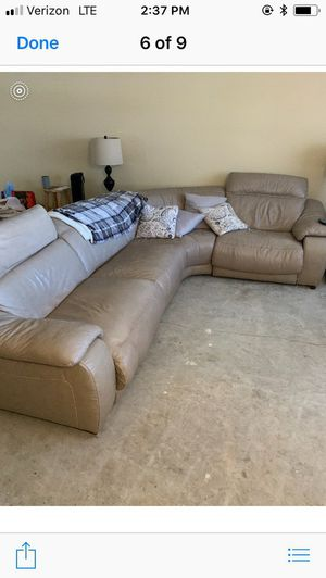 Leather double recliner sectional sofa for Sale in St. Petersburg, FL