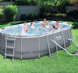 """Outdoor Power Steel 13.91' X 8.2' X 39.5"""" Oval Frame Pool Set for Sale in Middletown,  MD"""