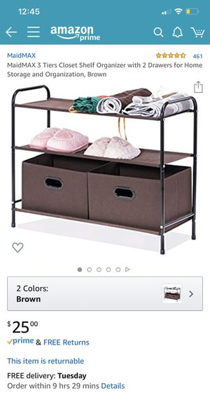 Brand new MaidMax 3 tier closet shelf organizer with 2 drawers for Sale in Kirkland, WA
