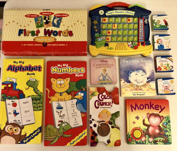 Leap Frog Phonics Library, puzzles and books