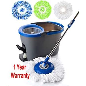 Simpli-Magic Spin Cleaning System Including 3 cleaning Mop Heads, Dark Grey/Blue moo for Sale in South Gate, CA