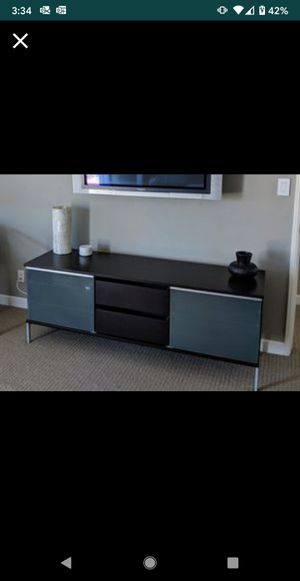 Ultra Modern TV Stand Console Table Buffet Credenza Electronics Storage Entertainment Center frosted glass dark solid wood espresso contemporary for Sale in Carlsbad, CA