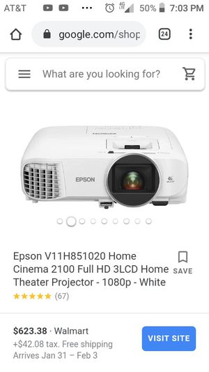 Epson 1080p Full HD Home Cinema Projector 3D/HDMI for Sale in Erie, PA
