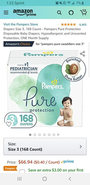 Diapers Size 3, 168 Count - Pampers Pure Protection Disposable Baby Diapers, Hypoallergenic and Unscented Protection for Sale in Clovis, CA