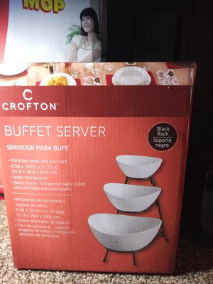 Buffet server . porcelain bowl and iron rack for Sale in Garland, TX