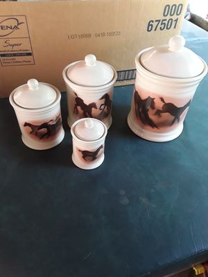 Set of 4 ceramic horse canisters. for Sale in Linden, PA