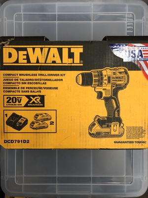 DEWALT 20-Volt MAX XR Lithium-Ion Cordless 1/2 in. Brushless Compact Drill/Driver with (2) Batteries 2Ah, Charger and Hard Case for Sale in Philadelphia, PA