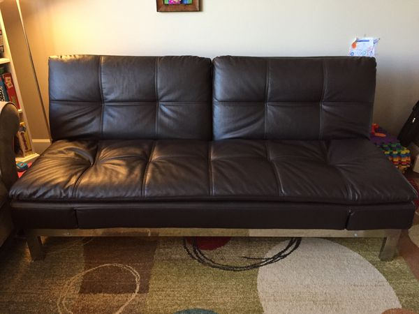 Leather Couch Can Turn into Full Size Bed / Futon