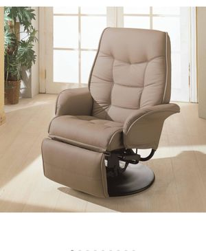 Coaster Berri Faux Leather Swivel Recliner in Beige and Black for Sale in Sterling, VA