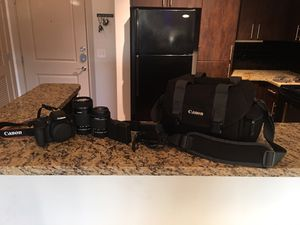 Canon T6i dclr w/ 2 zoom lenses (55-250mm & 18-55mm), portable charger, recording mic, and canon carrying case. for Sale in Atlanta, GA