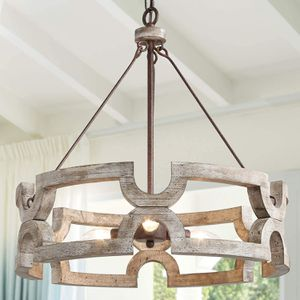 Brand New Farmhouse Wood Drum Chandelier Dining Living Hallway Entryway Office Kitchen Bedroom Modern Luxury Decor Hand-Painted Antique Dark Finish for Sale in Queens, NY
